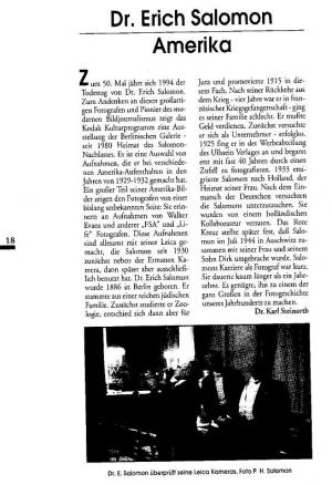 "Artikel über Erich Salomon aus: ""Leica. Fotografie International"", 6/94 Bild: ""Leica. Fotografie International"", 6/94"